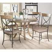 Hillsdale Charleston 5 Pc Round Wood Dining Set w/ X Back Chairs