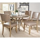 Hillsdale Charleston 5 Pc Round Wood Dining Set with Parson Chairs