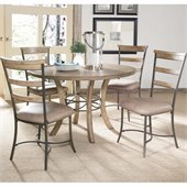 Hillsdale Charleston 5 Pc Round Wood Dining Set with LadderBack Chairs