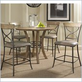 Hillsdale Charleston 5 Pc Counter Round Wood Pub Set w/ X Back Stools