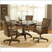 Hillsdale Grand Bay 5 Pc Round Dining Set with Caster Chairs in Cherry