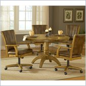 Hillsdale Grand Bay 5 Pc Round Dining Set with Caster Chairs in Oak