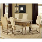 Hillsdale Hartland 7 Piece Dining Set with 6 Side Chairs in Light Oak