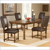 Hillsdale Hartland 5 Piece Dining Set with 4 Side Chairs in Dark Oak