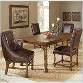 Hillsdale Hartland 5 Piece Dining Set w/ Side & Arm Chairs in Dark Oak