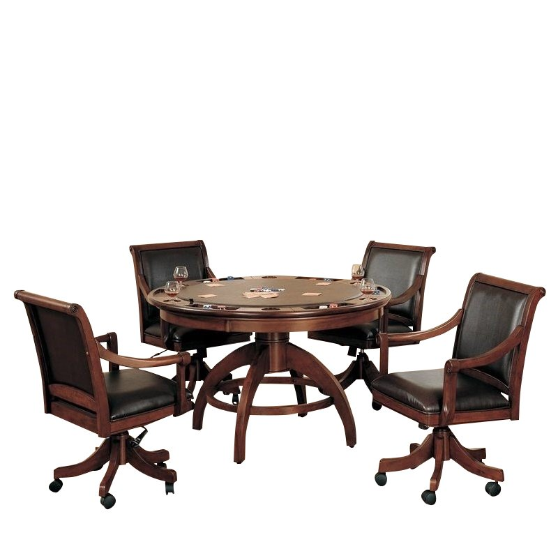 Hillsdale Palm Springs 5 Piece Game Set in Medium Brown Cherry