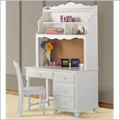 Hillsdale Lauren Desk and Chair Set in White