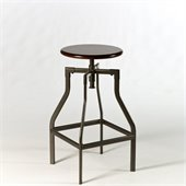 Hillsdale Cyprus Adjustable Backless Stool in Pewter / Cherry