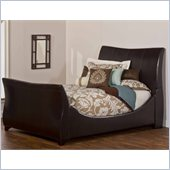 Hillsdale Justin Sleigh Bed in Brown Bonded Leather