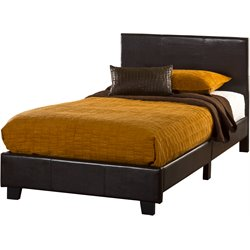 Hillsdale Springfield Bed in a Box Twin Bed in Brown Faux Leather