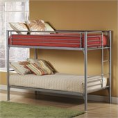 Hillsdale Universal Youth Twin over Twin Metal Bunk Bed in Silver Finish