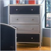 Hillsdale Universal Youth 4 Drawer Metal Chest in Silver and Navy Finish