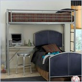 Hillsdale Universal Metal Loft Bunk Bed Study Center in Silver Navy