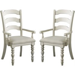 Hillsdale Pine Island Ladder Back Arm Chair Set of 2