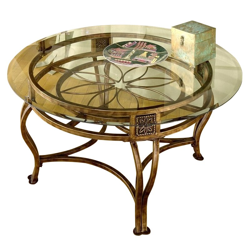 Hillsdale Scottsdale Round Glass Top Coffee Table in Brown Rust Finish