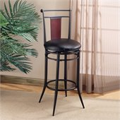 Hillsdale MidTown 30 Vinyl Swivel Bar Stool in Black &amp; Cherry