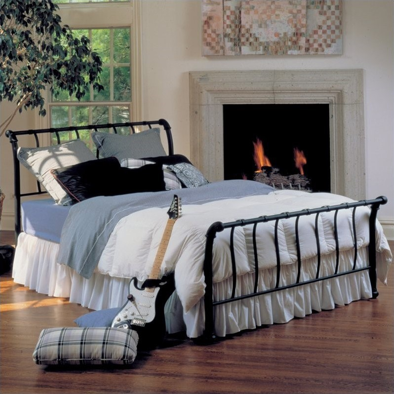 Janis Metal Sleigh Bed In Black 16xxbxr