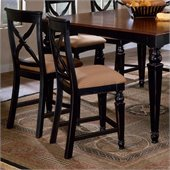Hillsdale Northern Heights 24 Counter Stool in Black and Cherry (Set of 2)