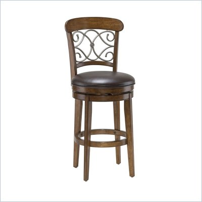 Hillsdale Bergamo 26&quot; Swivel Counter Stool in Distressed Medium Brown Cherry