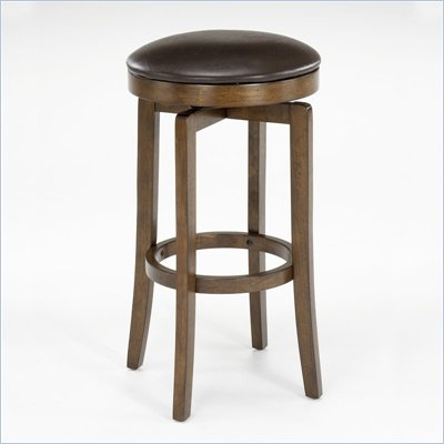 "Hillsdale Brendan 25"" Backless Swivel Counter Stool in Brown Cherry"