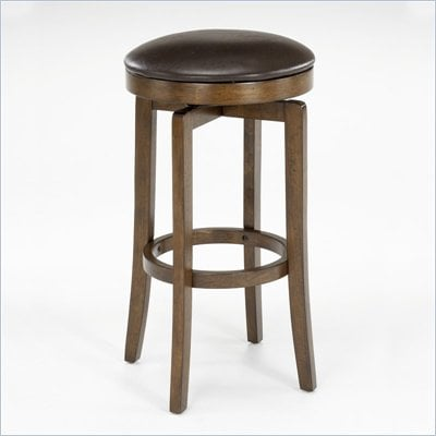 "Hillsdale Brendan 31"" Backless Swivel Bar Stool in Brown Cherry"