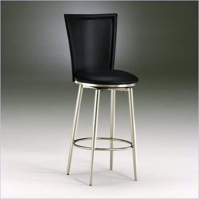 "Hillsdale Bristol 30"" Swivel Bar Stool in Black Vinyl"