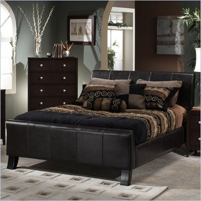 Hillsdale Brookland Leather Bed 3 Piece Bedroom Set in Dark Brown 