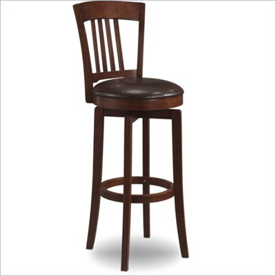 Hillsdale Canton Brown Swivel Counter Stool with Vinyl Seat
