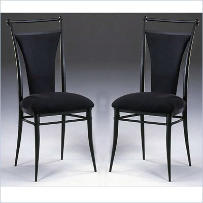 Hillsdale Cierra Fabric Dining Side Chair in Black (Set of 2)
