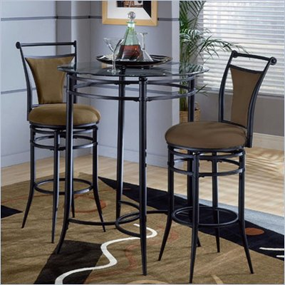 Hillsdale Cierra Mix-n-Match 3pc Pub Table Set with Stools in Bear