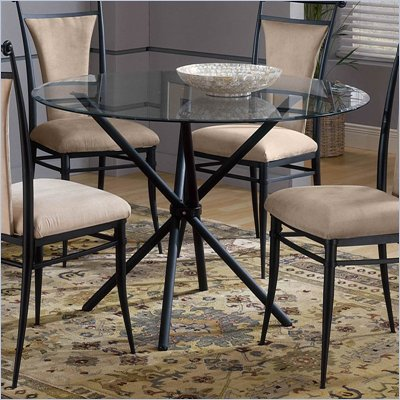 Hillsdale Mix-N-Match 44 Inch Glass Top Stick Dinette Table in Black Finish