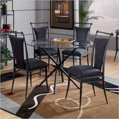 Hillsdale Cierra Mix-n-Match 5 Piece Round Dining Table Set with Black Dining Chairs