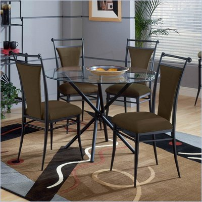 Hillsdale Cierra Mix-n-Match 5 Piece Round Dining Table Set with Bear Dining Chairs