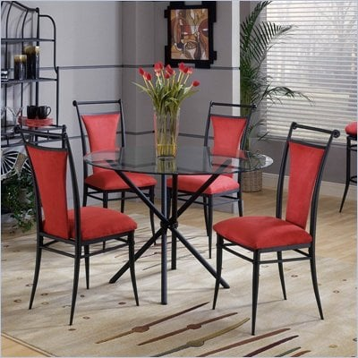 Hillsdale Cierra Mix-n-Match 5 Piece Round Dining Table Set with Flame Dining Chairs
