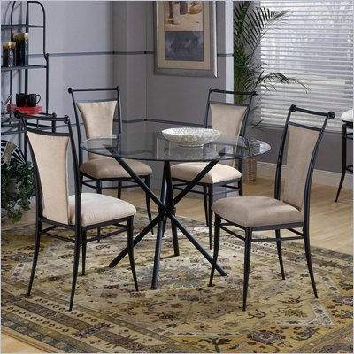 Hillsdale Cierra Mix-n-Match 5 Piece Round Dining Table Set with Fawn Dining Chairs
