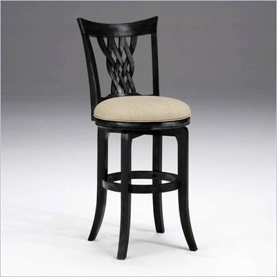 "Hillsdale Embassy 30"" Swivel Bar Stool in Rubbed Black"