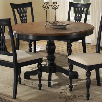 Hillsdale Embassy Round Pedestal Dining Table in Rubbed Black &amp; Cherry