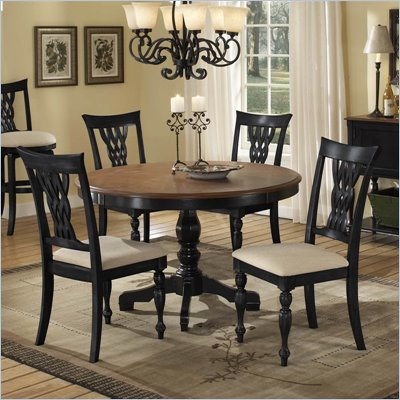 Hillsdale Embassy 5-Piece Dining Set in Rubbed Black &amp; Cherry