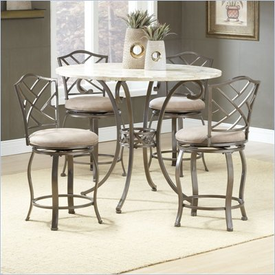Hillsdale Brookside 5 Piece Counter Height Dining Table Set with Hanover Stools