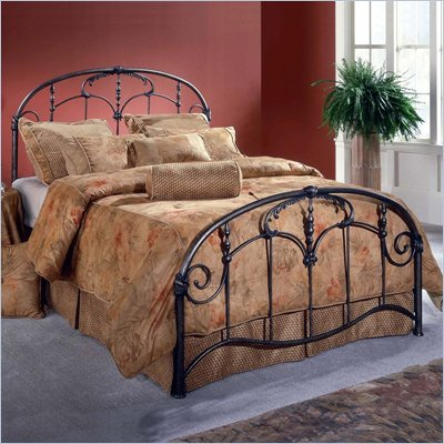 Hillsdale Jacqueline Metal Panel Bed in Antique Dark Gray Finish