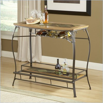 Hillsdale Lakeview Wood and Slate Top Bar Table in Brown and Medium Oak Finish