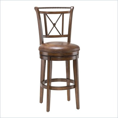 Hillsdale Lemans 26 Inch Swivel Counter Stool In Distressed Medium Brown Cherry
