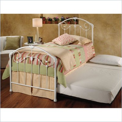 Hillsdale Maddie White Twin Metal Panel Bed with Roll Out Trundle