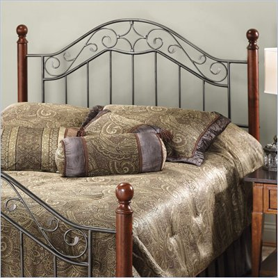 Hillsdale Martino Metal Headboard in Cherry and Silver