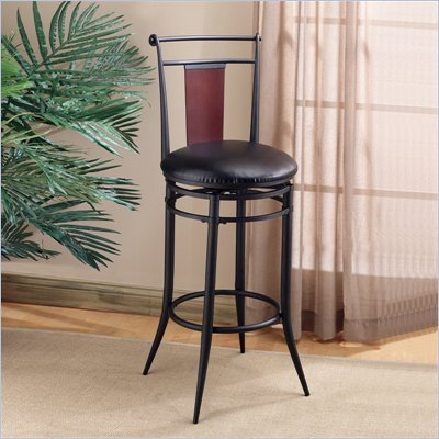 "Hillsdale MidTown 30"" Vinyl Swivel Bar Stool in Black & Cherry"