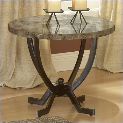 Hillsdale Monaco Metal End Table with Faux Marble Top