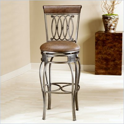 Hillsdale Montello 28 Inch Counter Height Swivel Faux Leather Bar Stool