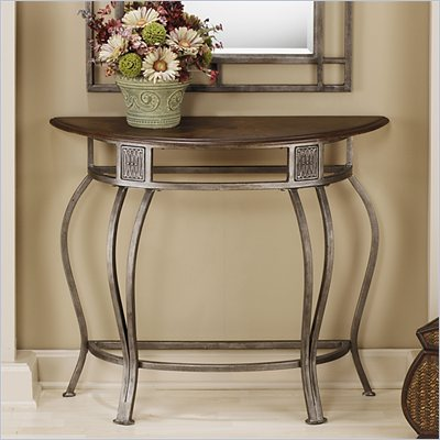 Hillsdale Montello Wood Top Console Table in Old Steel Finish