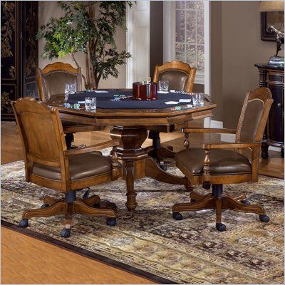 Hillsdale Nassau 5 Piece Game Set with Leather Back Game Chair