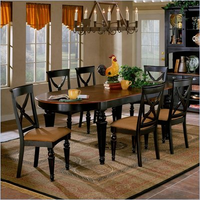Hillsdale Northern Heights 5 Piece Oval Dining Table Set in Black and Cherry Finish